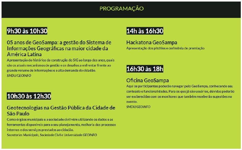 agenda geosampa Hackatona GeoSampa seleciona projetos para apresentação no MundoGEO Connect
