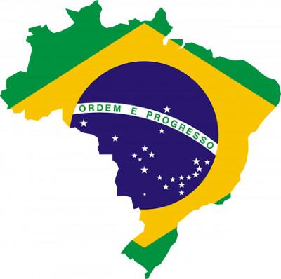 mapa com bandeira do brasil