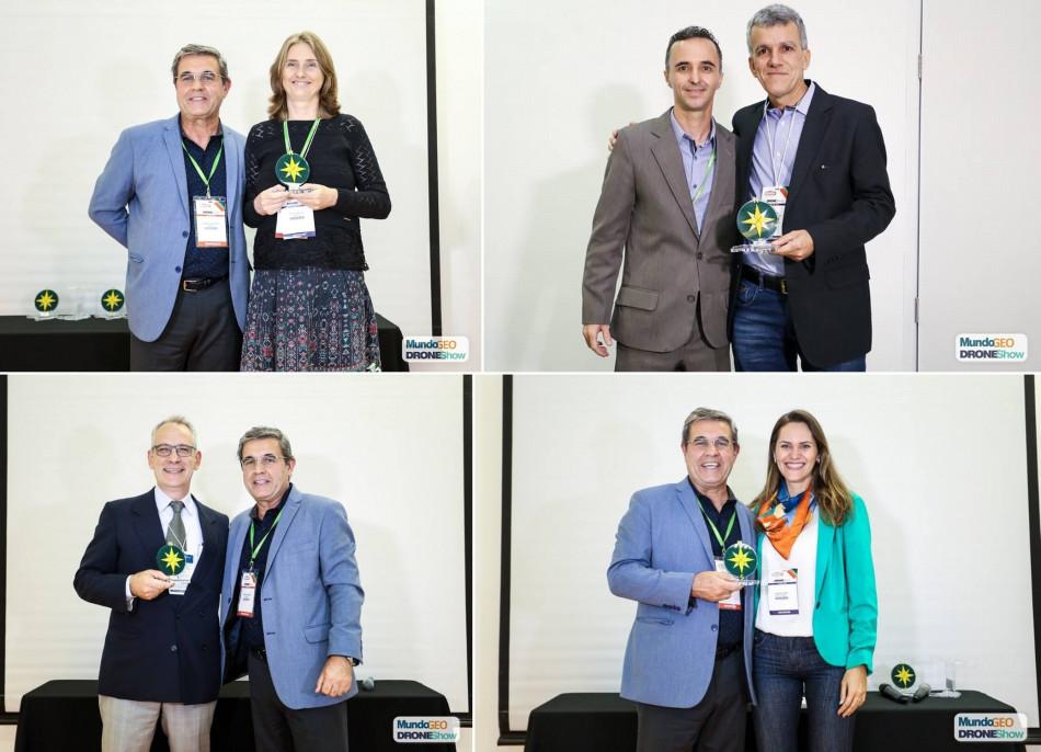 Alguns dos premiados no MundoGEO 2018. No sentido horário: Mirian Say (Temática) Artur Caldas Brandão (UFBA), Juliana Abel Simão (Hubse), Regis Bueno (Geovector)